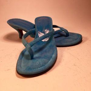 Donald J Pliner Aqua suede kitten heel sandals